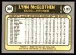 1981 Fleer #302  Lynn McGlothen  Back Thumbnail