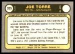 1981 Fleer #325  Joe Torre  Back Thumbnail