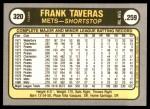 1981 Fleer #320  Frank Taveras  Back Thumbnail