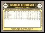 1981 Fleer #208  Charlie Leibrandt  Back Thumbnail
