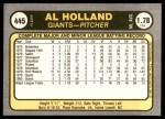 1981 Fleer #445  Al Holland  Back Thumbnail