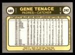1981 Fleer #489  Gene Tenace  Back Thumbnail