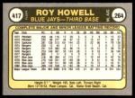 1981 Fleer #417  Roy Howell  Back Thumbnail