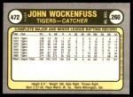 1981 Fleer #472  John Wockenfuss  Back Thumbnail