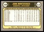 1981 Fleer #439  John Montefusco  Back Thumbnail