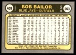 1981 Fleer #409  Bob Bailor  Back Thumbnail