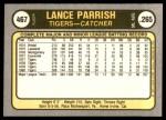 1981 Fleer #467  Lance Parrish  Back Thumbnail