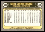 1981 Fleer #503  Mike Armstrong  Back Thumbnail