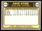 1981 Fleer #414  Dave Stieb  Back Thumbnail