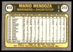 1981 Fleer #613  Mario Mendoza  Back Thumbnail
