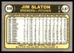 1981 Fleer #518  Jim Slaton  Back Thumbnail