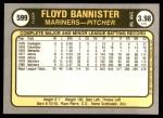 1981 Fleer #599  Floyd Bannister  Back Thumbnail