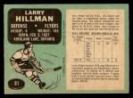1970 O-Pee-Chee #81  Larry Hillman  Back Thumbnail