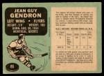 1970 O-Pee-Chee #86  Jean-Guy Gendron  Back Thumbnail