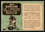 1970 O-Pee-Chee #45  Bob Barlow  Back Thumbnail