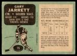 1970 O-Pee-Chee #75  Gary Jarrett  Back Thumbnail