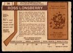 1973 O-Pee-Chee #36  Ross Lonsberry  Back Thumbnail