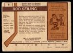 1973 O-Pee-Chee #9  Rod Seiling  Back Thumbnail