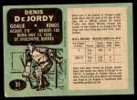 1970 O-Pee-Chee #31  Denis DeJordy  Back Thumbnail