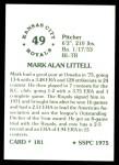 1976 SSPC #181  Mark Littell  Back Thumbnail
