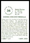 1976 SSPC #117  Dan Frisella  Back Thumbnail