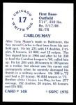 1976 SSPC #148  Carlos May  Back Thumbnail