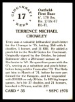 1976 SSPC #35  Terry Crowley  Back Thumbnail