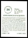 1976 SSPC #94  John D'Acquisto  Back Thumbnail