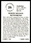 1976 SSPC #46  Merv Rettenmund  Back Thumbnail