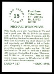 1976 SSPC #127  Mike Ivie  Back Thumbnail