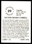1976 SSPC #14  Vic Correll  Back Thumbnail