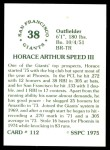 1976 SSPC #112  Horace Speed  Back Thumbnail