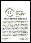1976 SSPC #12  Craig Robinson  Back Thumbnail