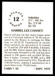 1976 SSPC #33  Darrel Chaney  Back Thumbnail