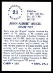 1976 SSPC #165  Buck Martinez  Back Thumbnail