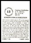 1976 SSPC #81  Joe Ferguson  Back Thumbnail