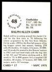 1976 SSPC #17  Ralph Garr  Back Thumbnail