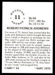 1976 SSPC #54  Rob Andrews  Back Thumbnail