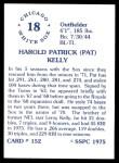 1976 SSPC #152  Pat Kelly  Back Thumbnail
