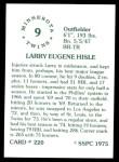 1976 SSPC #220  Larry Hisle  Back Thumbnail