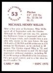 1976 SSPC #382  Mike Willis  Back Thumbnail