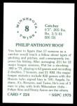 1976 SSPC #224  Phil Roof  Back Thumbnail