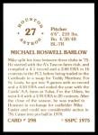 1976 SSPC #298  Mike Barlow  Back Thumbnail