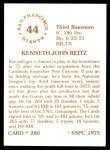1976 SSPC #280  Ken Reitz  Back Thumbnail
