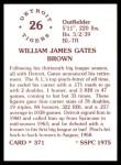 1976 SSPC #371  Gates Brown  Back Thumbnail