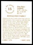 1976 SSPC #276  Ron Fairly  Back Thumbnail
