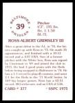 1976 SSPC #377  Ross Grimsley  Back Thumbnail