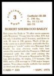 1976 SSPC #333  Bob Bailey  Back Thumbnail