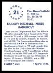 1976 SSPC #263  Mike Hargrove  Back Thumbnail