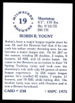 1976 SSPC #238  Robin Yount  Back Thumbnail